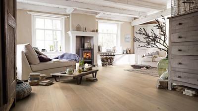 MEISTER Parkett Landhausdielen in einem Wohnzimmer im Nordic Style