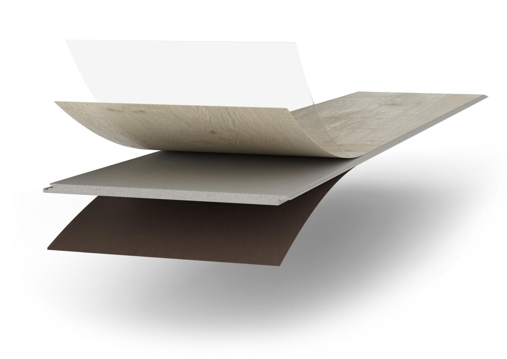 a. Diamond Pro oppervlak  b. Antistatische decorpapier  c. AquaSafe+-tussenlaag d. AquaStop-impregnering  e. Tegenfineer voor vormstabiliteit