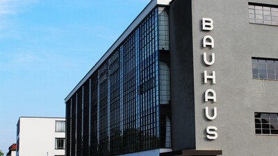 Bauhaus building with the giant letters on its facade