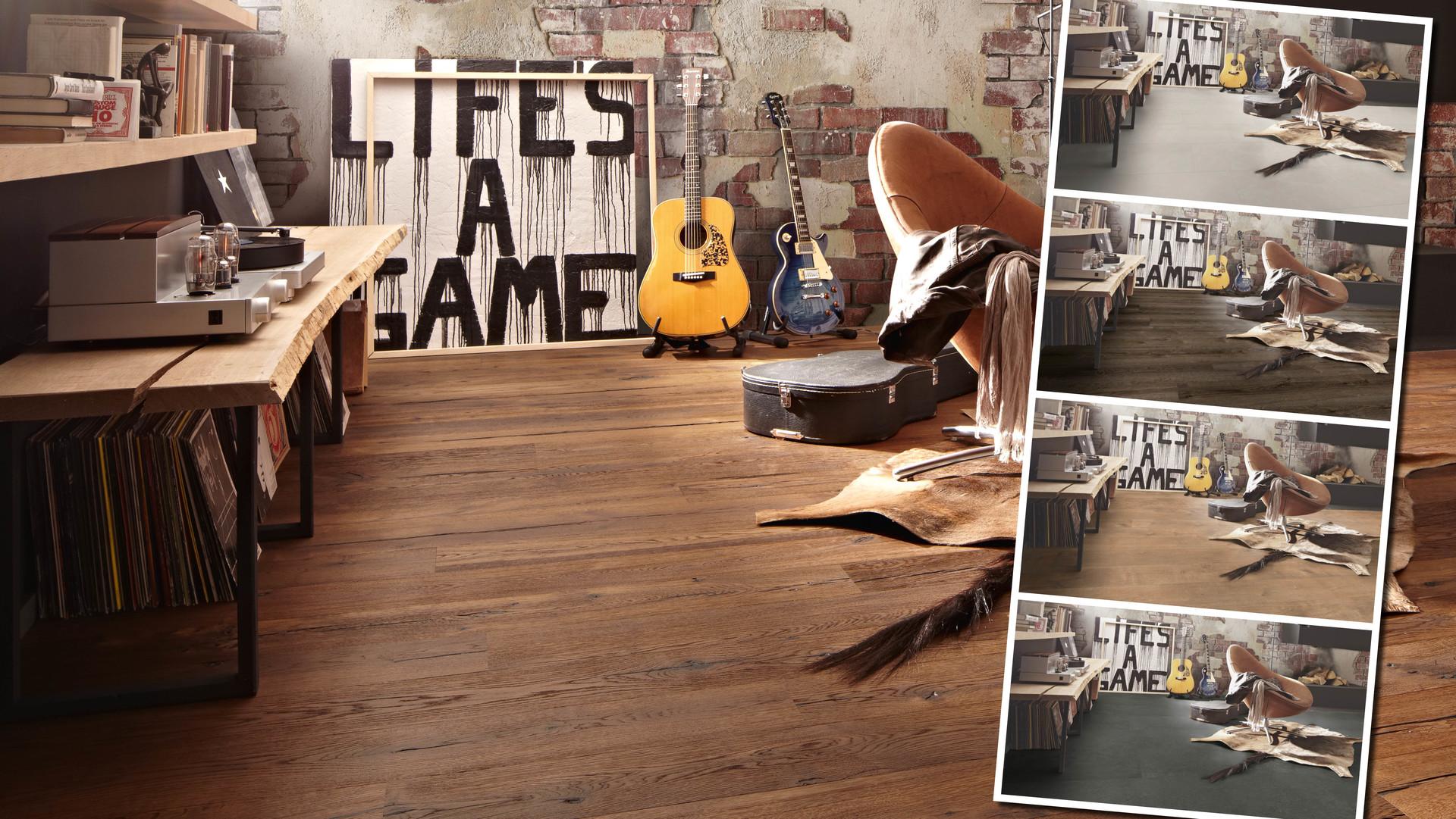 Dunkler Eiche-Parkettboden in großem Bildausschnitt, weitere Fußbodenarten und Farben in kleineren Bildausschnitten