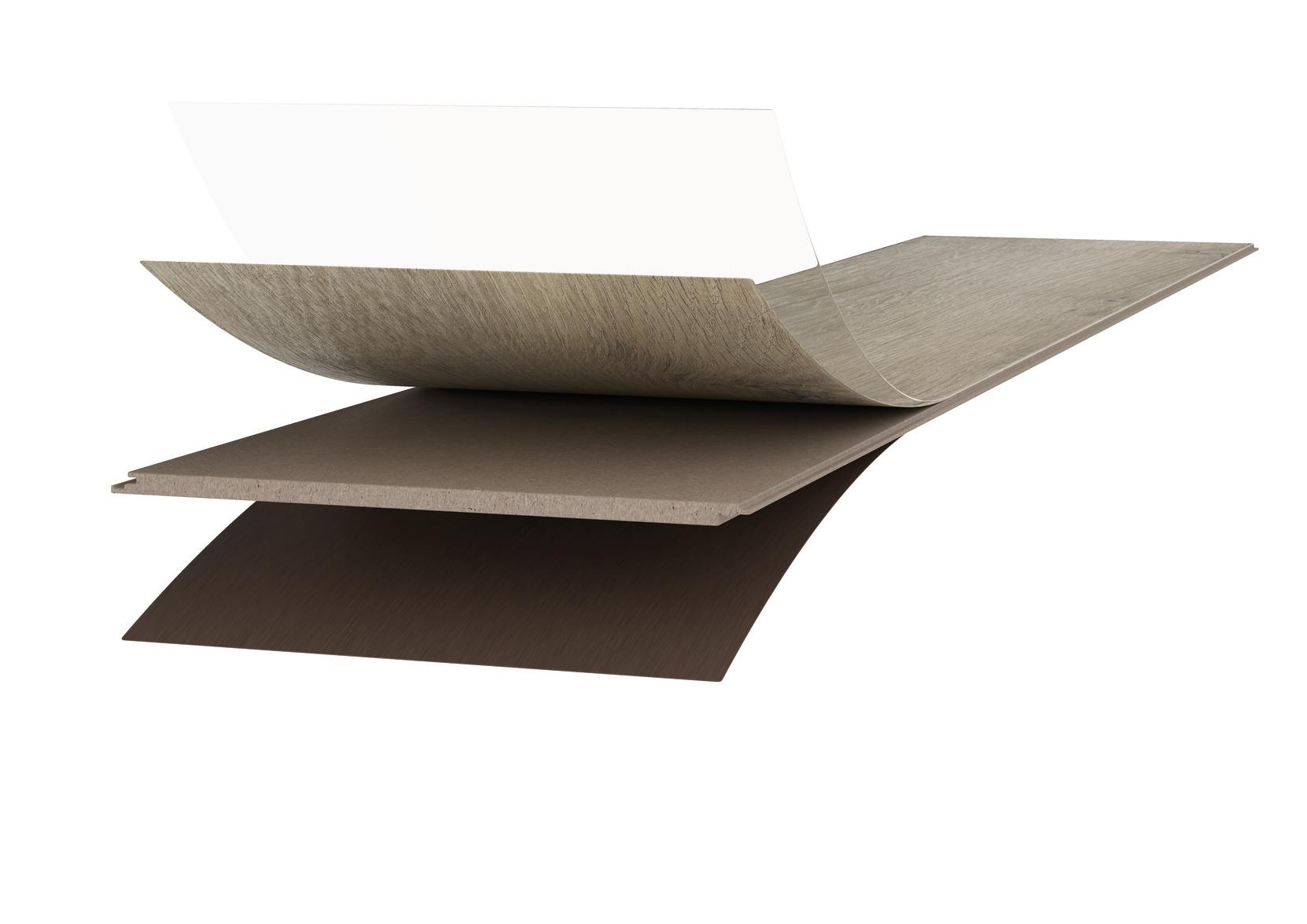 a. Diamond Pro oppervlak  b. Antistatische decorpapier  c. HDF-tussenlaag  d. AquaStop-impregnering e. Tegenfineer voor vormstabiliteit