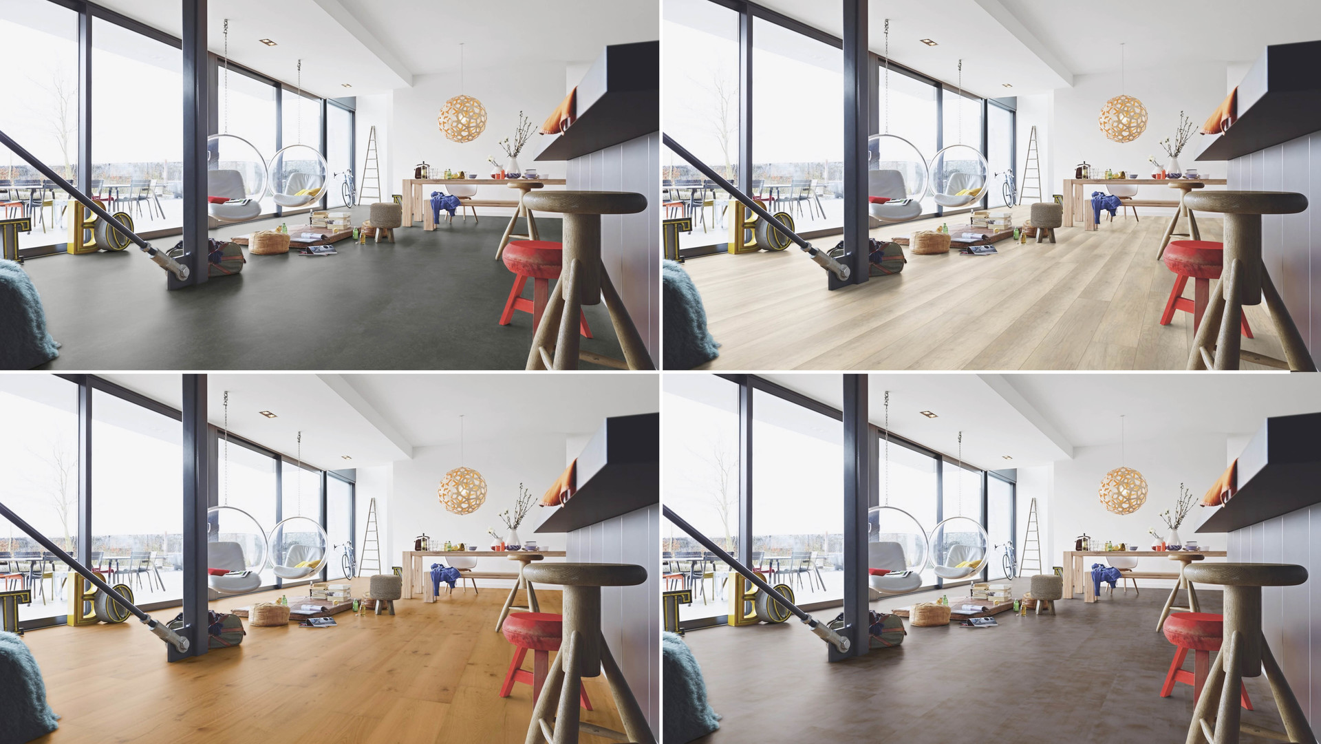 1 Raum - 4 verschiedene Böden.