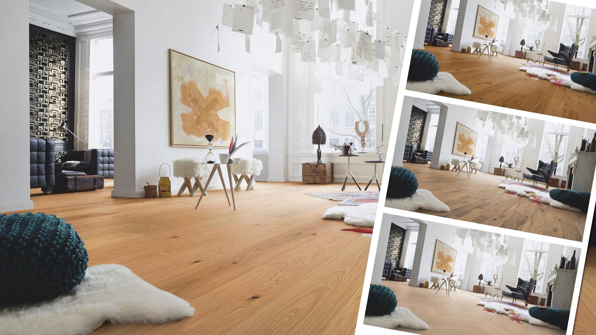 Raumfoto mit Parkett Landhausdielen und kleinere Bilder des gleichen Raumes mit anderen Formaten